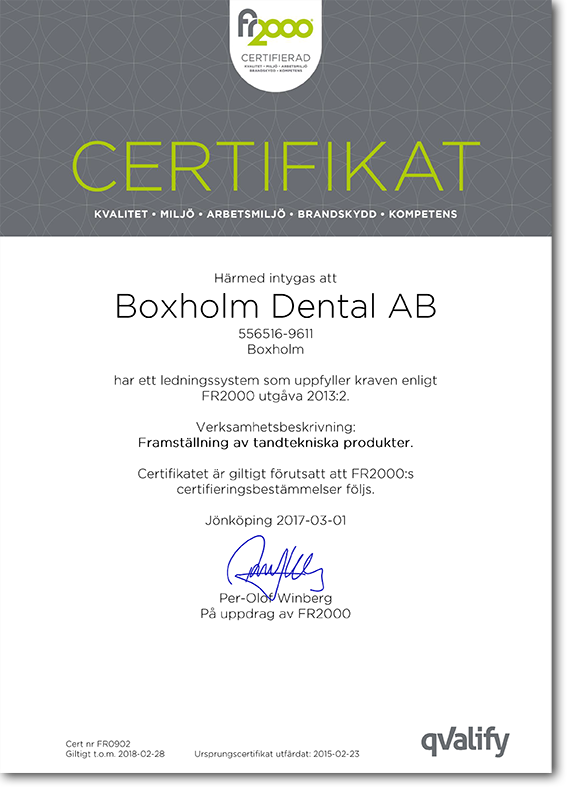 Boxholm Dental iso-certifierade