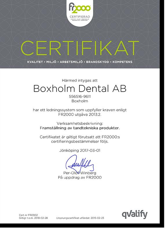 Boxholm Dental iso-certifierade